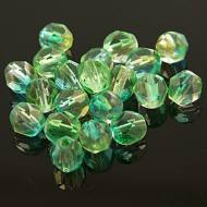 Koraliki Fire Polish ze szkła 6mm Crystal Dual coated green/yellow (20szt)
