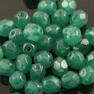 Koraliki Fire Polish ze szkła 6mm Alabaster Malachite Green (20szt)