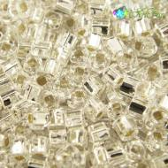 TOHO Cube 3mm Silver&shy-Lined Crystal (1op)