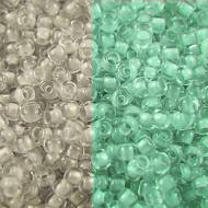 TOHO Round 11/0 Glow In The Dark &shy- Grey Crystal/Bright Green (1op)