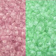 TOHO Round 11/0 Glow In The Dark &shy- Dark Pink/Green Pink (1op)